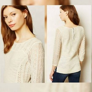 Anthropologie Knitted & Knotted Ivory Sweater